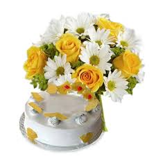 1/2 Kg pineapple EGGLESS cake 12 white gerberas yellow roses bouquet