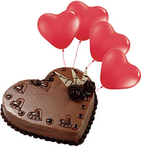 4 Heart red balloons +�1�Kg Heart Cake