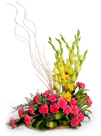 Pink Carnations and Yellow Gladioli in a Basket