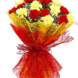 Bouquet wrappred in red with a dozen Red and Yellow carnations