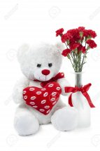 8 Red Carnations in vase with 6 inches Teddy and Heart