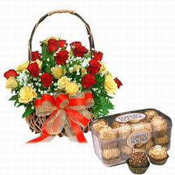 24 Red and YellowRoses basket+ with 16 piece ferrero Rocher box