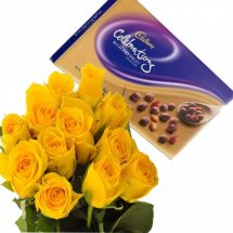 Cadburys celebration with 12 yellow roses