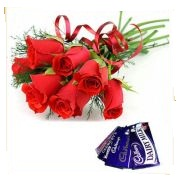6 red roses with 2 small dairy milk chocolates