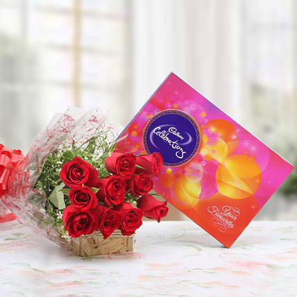 8 Red Roses with Cadburys Celebration