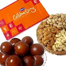 1/2 Kg dryfruits 1/2 Kg Gulabjamun Cadburys Celebration Box