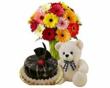 � Kg chocolate cake 10 Assorted Gerberas Teddy (6 Inches)