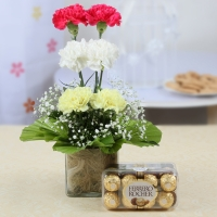 2 pink 2 White 2 yellow carnations basket with 16 Ferrero Chocolates box