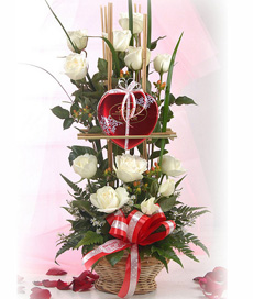 12 White roses basket with Valentine heart