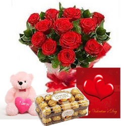 12 Red Roses with 6 inches Teddy Card and 16 Ferrero rocher chocolate box
