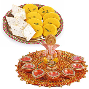 1/2 Kg Sweets and Pooja Thali with diyas