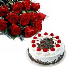 Dozen red roses and 1/2 Kg Eggless Black forest cake