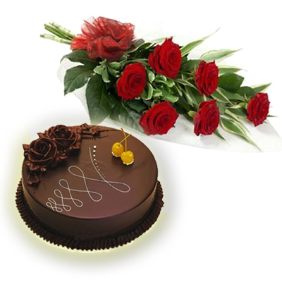 6 Red rose Bouquet with � Kg Chocolate Cake