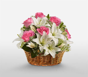 White Lilies with Pink Roses in basket