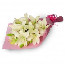 White Lilies hand tied bouquet