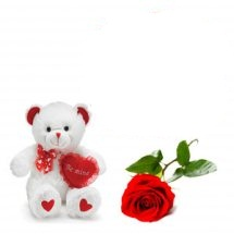 Teddy bear (6 inches) with heart and 1 Red rose