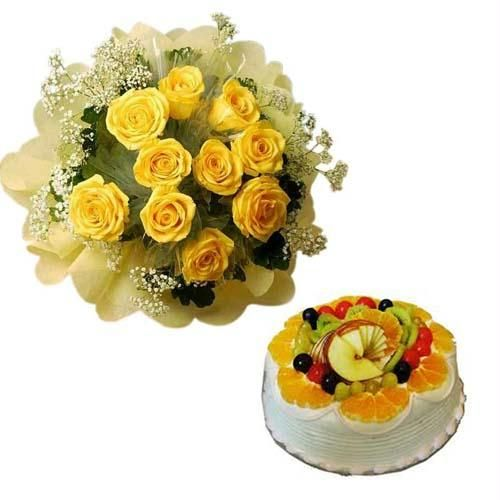 12 yellow roses bouquet 1/2 kg FRESH FRUIT cake