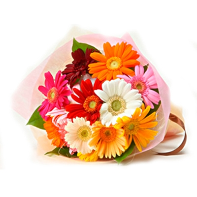 8 Mix colour gerberas in bouquet