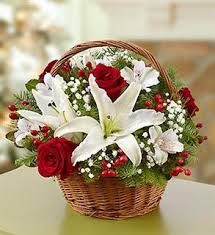 Short stems of White Lilies with Red Roses in basket