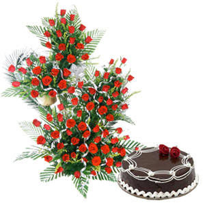Red Roses on Stand + 1 Kg Cake