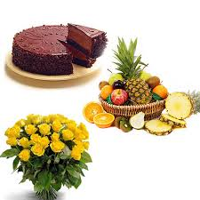 2 Kg. Fresh Fruits with 1/2 Kg Chocolate Cake and 12 yellow roses