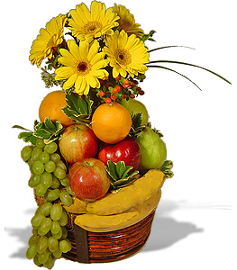 2 kg fruits basket and 12 yellow gerberas bouquet