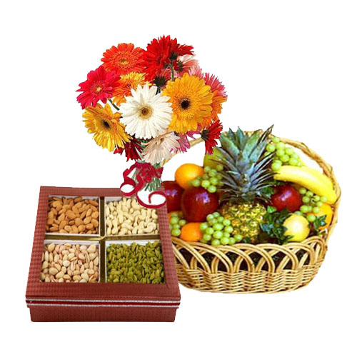 Dozen Gerberas 250 grams Dryfruits 2 Kg Fresh fruits