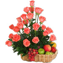Pink Roses and Fruits