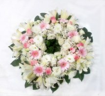 Pink and White flowers condolence wreath