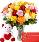 Teddy bear (6 inches) 24 Mix roses Vase and Card