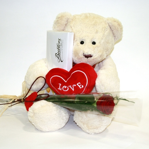 6 inch white Teddy Bear with a Valentine Heart, a Single Red Rose Card
