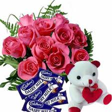 12 Pink Roses Chocolates and Teddy