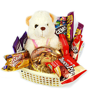 Teddy in basket of chocolates-ChocoPie Gems Dairy Milk 5Star