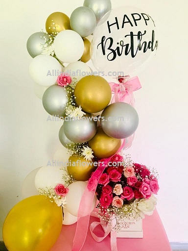 50 White Silver Gold Balloons Air filled with happy birthday printed balloon 12 roses