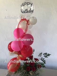 10 White Pink Red Balloons Air filled with happy birthday printed balloon + 8 roses