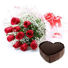 10 Red roses bouquet with 1 Kg heart chocolate truffle Cake