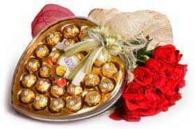 Dozen red roses with Heart shape chocolate box