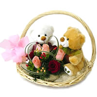 2 Teddies (6 inches) With�8 Roses in same basket