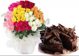 24 mixed roses and 1/2 Kg Eggless Chocolate Cake