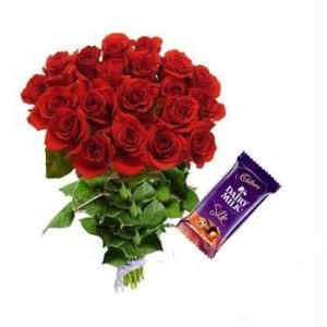 Dozen red roses with 2 Cadburys Silk-small