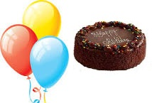 3 Helium Gas Filled Balloons 1/2 Kg Chocolate Cake