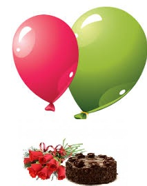 2 Gas Filled Balloons 6 Red roses 1/2 Kg Chocolate cake