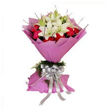 White oriental Lilies with red Roses Bouquet