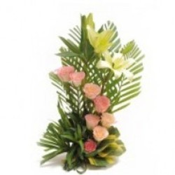 8 Pink Roses in spiral and 2 White lilies with Palm leaves in Basket