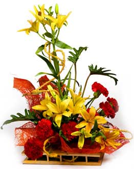Red Carnation and Yellow Liliums