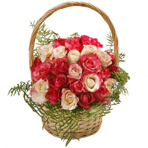 18 Pink and white roses basket