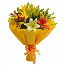Mix colour Lilies bouquet