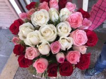 Ombre roses basket in shades of white pink and red