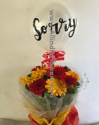 SORRY printed balloon 12 Gerberas in a bouquet