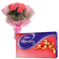 Cadburys celebration with 6 pink Carnations